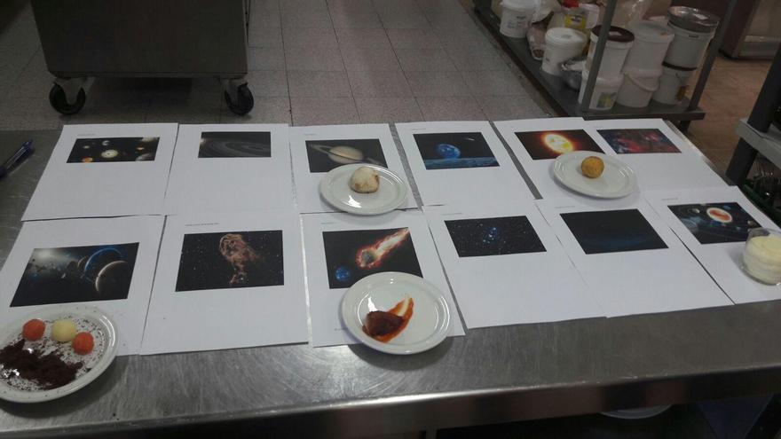 Algunas muestras de las preparaciones previas al 'Menú G-Astronómico'.