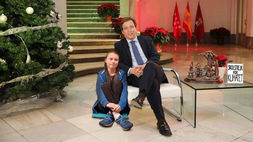 La joven activista Greta Thunberg junto a Martínez Almeida en el Ayuntamiento de Madrid