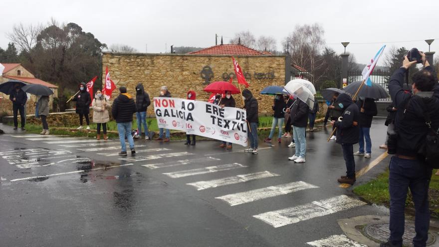 Protesta de trabajadores de Galicia Téxtil