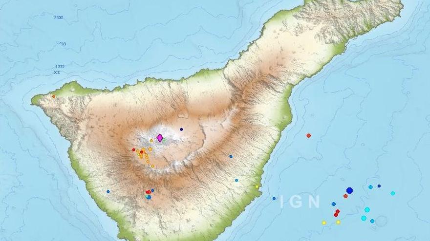 Seísmos detectados por el IGN en Tenerife desde el 3 de febrero hasta el 17 de febrero