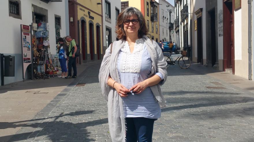 Paloma López este jueves en Santa Cruz de La Palma. Foto: LUZ RODRÍGUEZ.