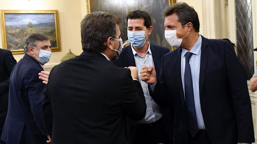 "Mario Negri, Cristian Ritondo, ""Wado"" De Pedro y Sergio Massa"