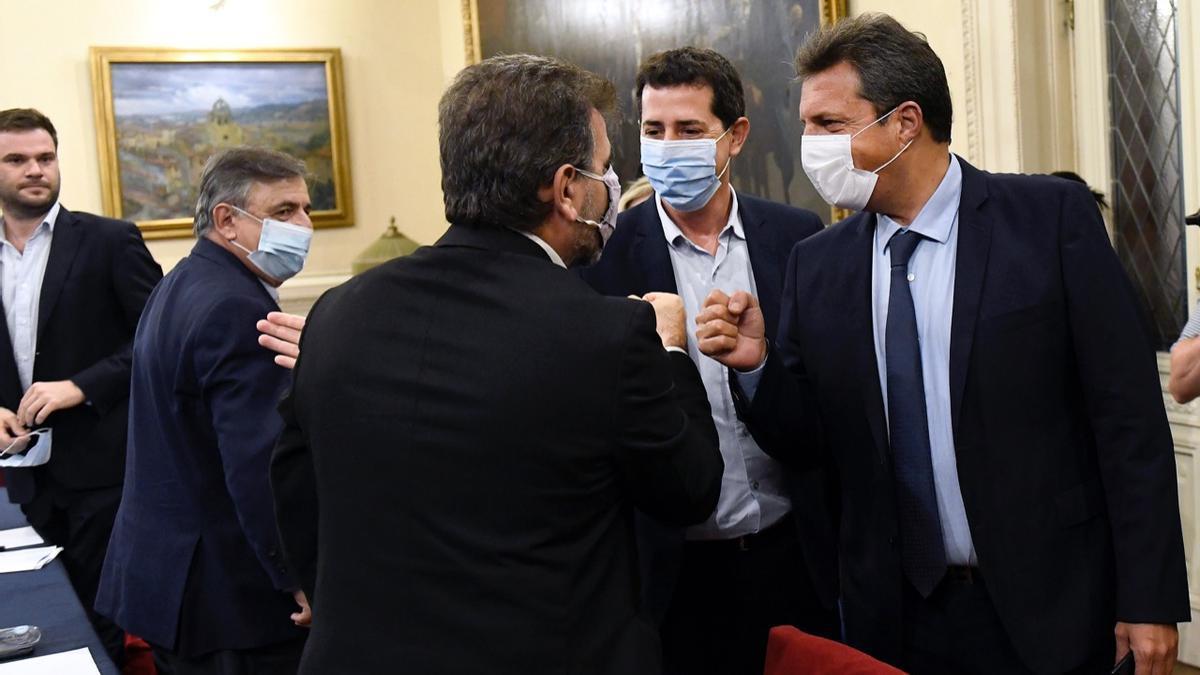 Mario Negri, Cristian Ritondo, Wado De Pedro y Sergio Massa