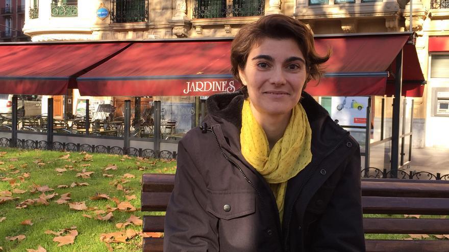 Rosa Martínez, coportavoz federal de Equo, tras la entrevista.