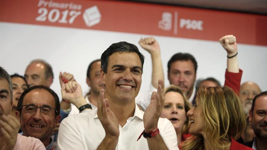 Pedro Sánchez tras la victoria en las primarias.