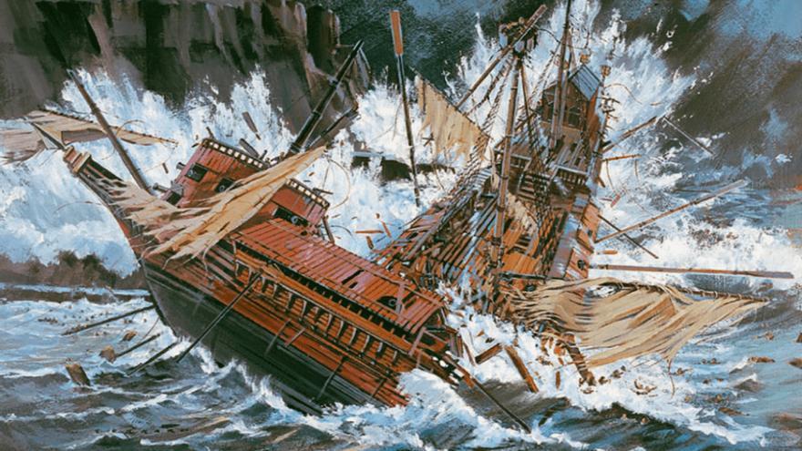 Naufragio de la galeaza Gerona. Armada Invencible. Autor: Howard Gerrard.