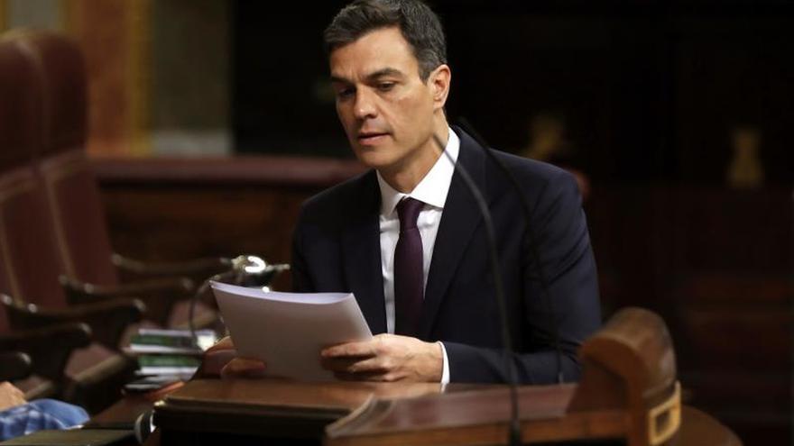 Pedro Sánchez en su comparecencia en el Congreso.