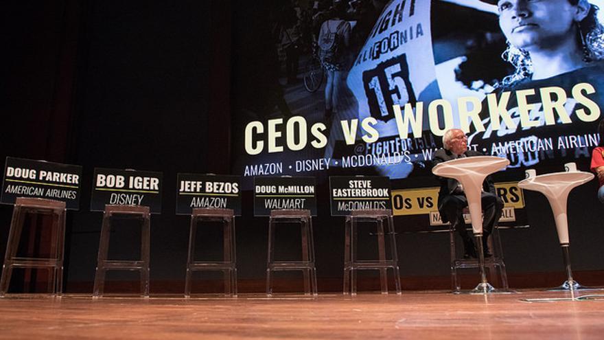 Bernie Sanders durante un acto celebrado en julio de 2018 para denunciar la desigualdad.
