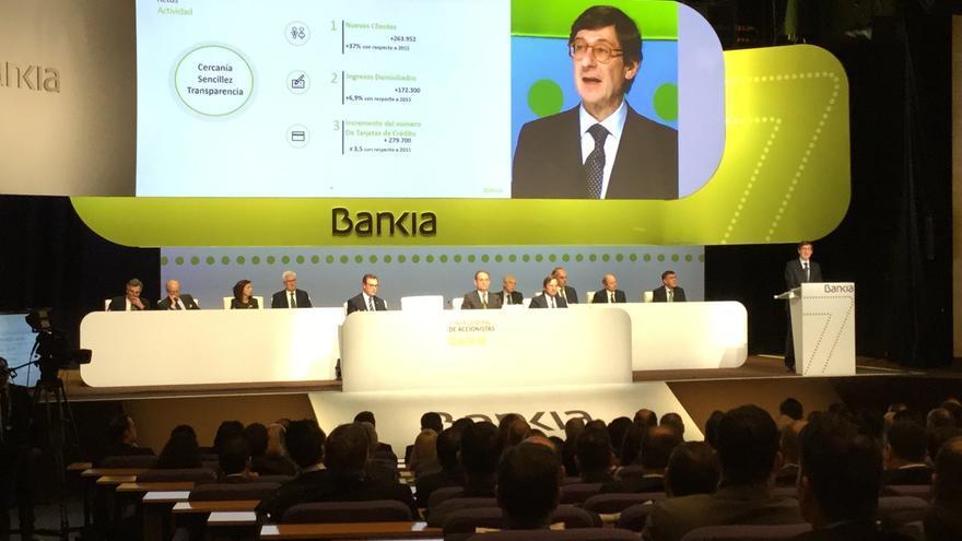 José Ignacio Goirigolzarri interviene en la junta general de accionistas de Bankia celebrada en Valencia