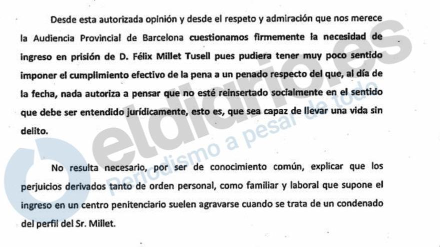 Fragmento de la petición de indulto de Millet