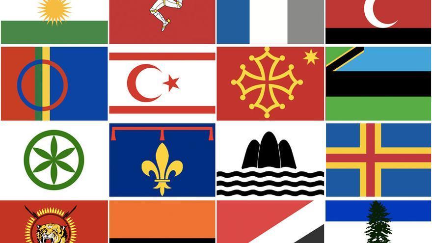Banderas de los participantes en el Mundial Conifa