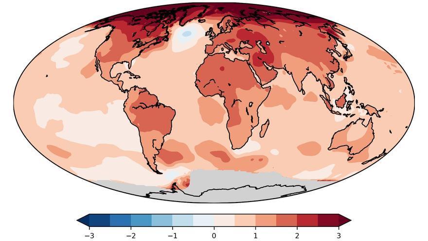 Evolución del aumento de temperatura de la Tierra entre 1880 y 1900 y entre 2009 y 2018