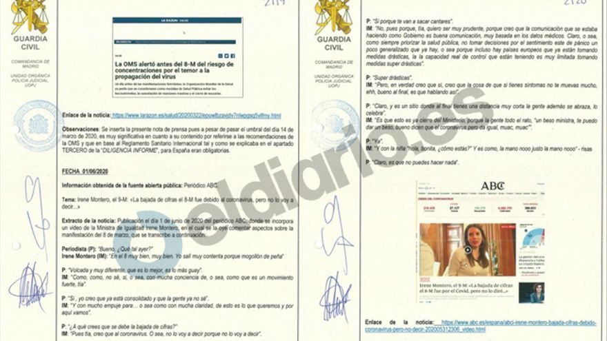 Captura del informe de la Guardia Civil con la inclusión de la publicación de 'Abc' sobre el 'off the récord' de Irene Montero