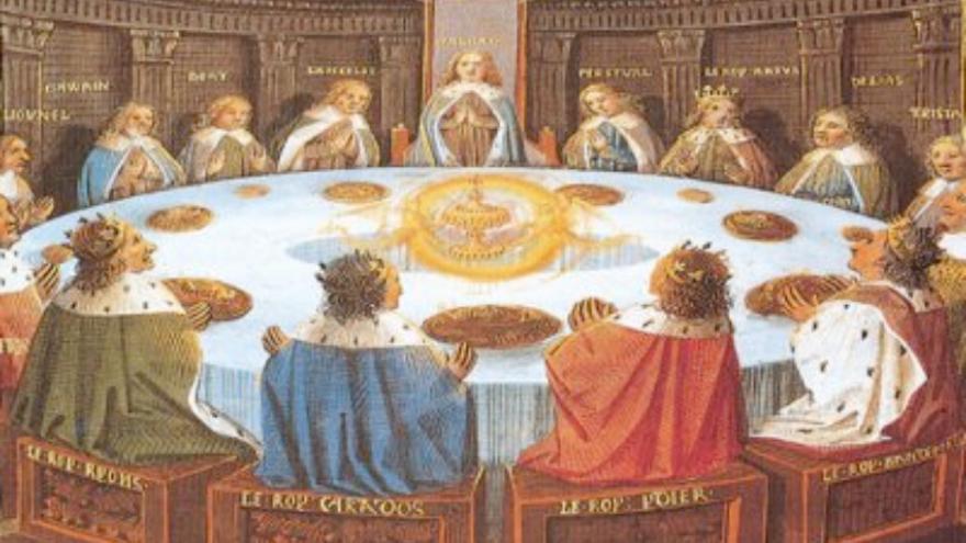 El rey Arturo y los caballeros de la mesa redonda.