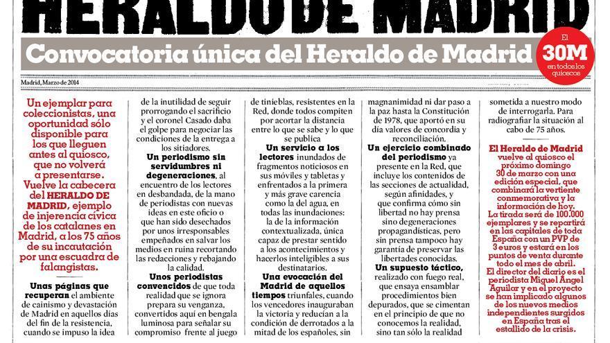 Nota de prensa del Heraldo de Madrid.