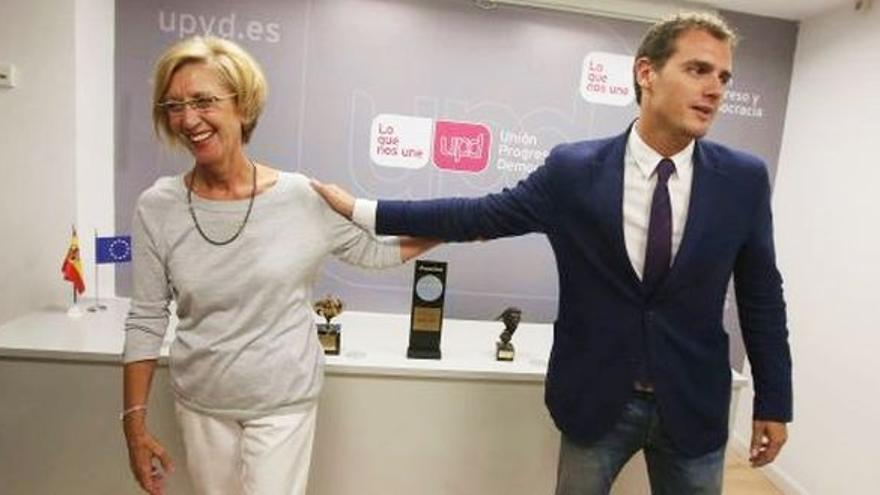 La líder de UPyD Rosa Díez y el líder de Ciudadanos, Albert Rivera
