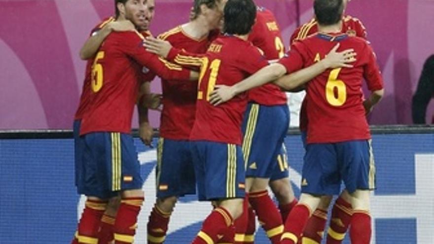 Selección Española Celebrando Gol