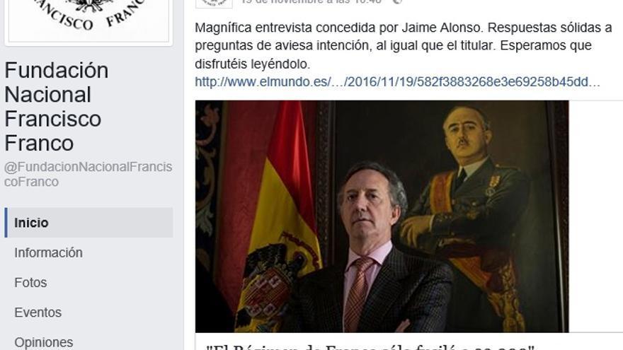 Noticia compartida en Facebook por la FNFF que fue denunciada por la ARMH