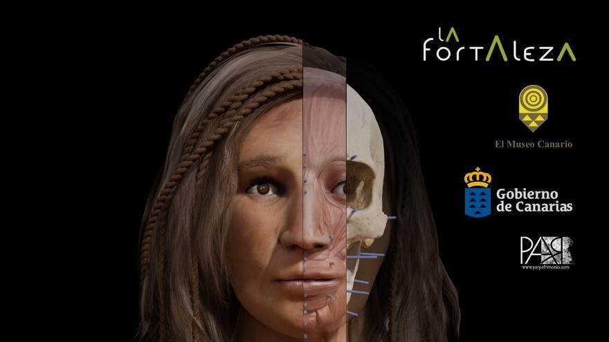 Fotografía que muestra el proceso de reconstrucción facial del cráneo 977 del Museo Canario.