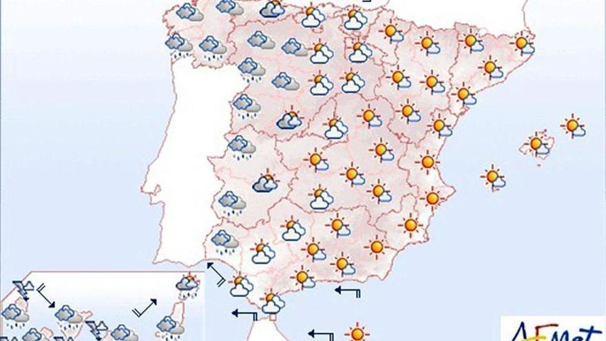 Lluvias en el oeste peninsular y precipitaciones fuertes en Canarias