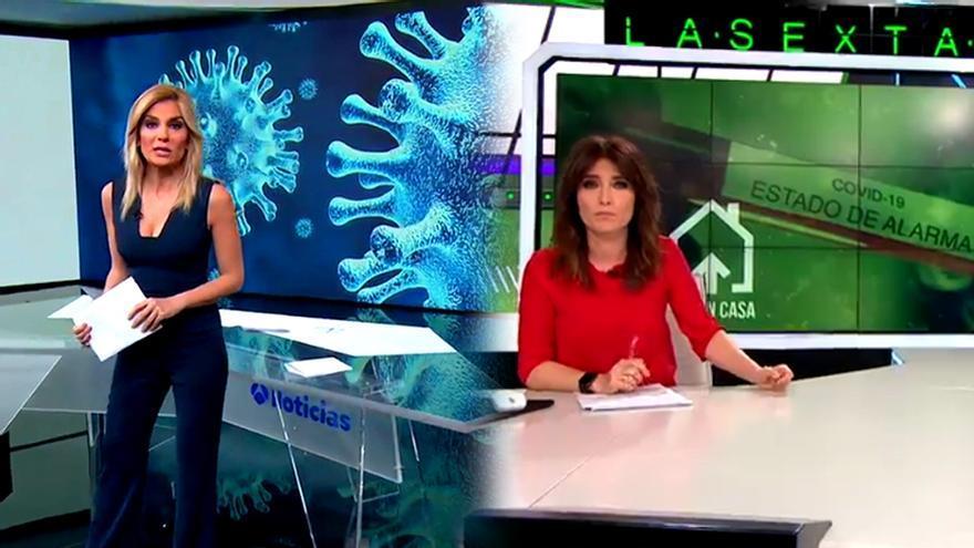Sandra Golpe y Helena Resano en sus informativos en Antena 3 y laSexta