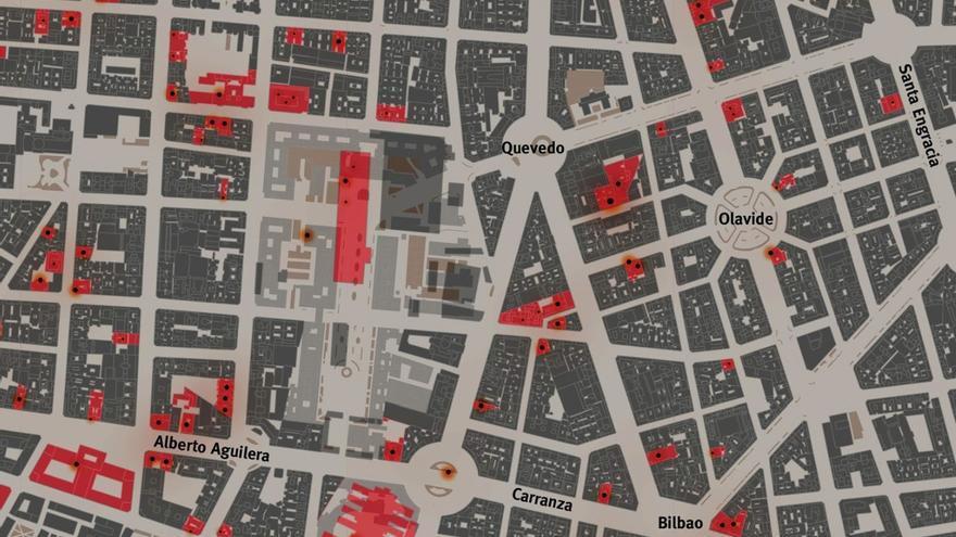 Detalle del mapa 'Madrid bombardeado' en la zona sur de Chamberí