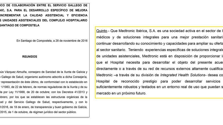 Fragmentos de la parte pública del acuerdo entre el Sergas y Medtronic para Santiago