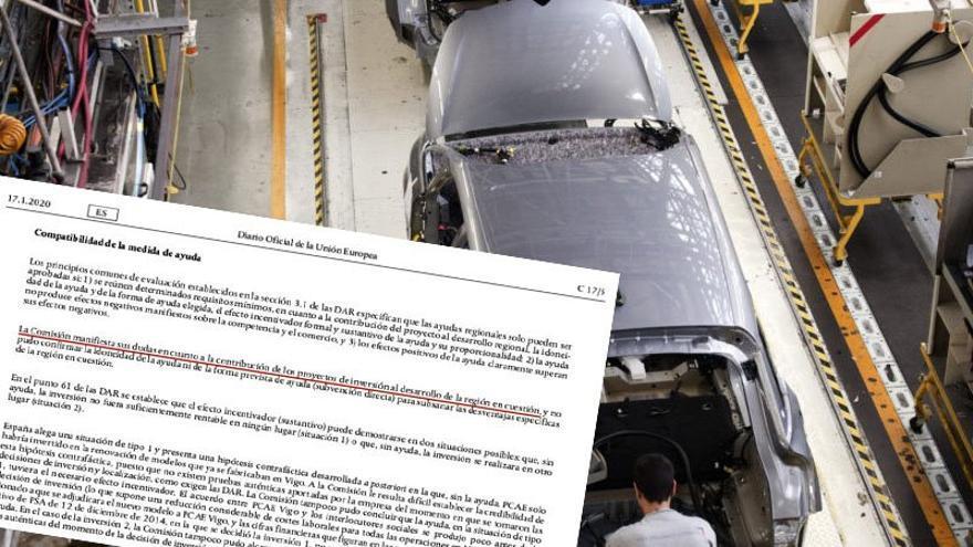 Fragmento del documento de la Comisión Europea ahora hecho público e imagen de la fábrica viguesa de la web de Peugeot-Citroën