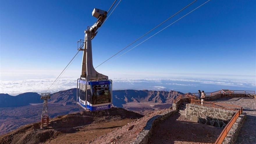 Una de las cabinas del teleférico, en el Teide