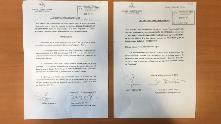"""Moción original del PP y """"corrección de errores"""" posterior para reclamar la salida de Múgica"""