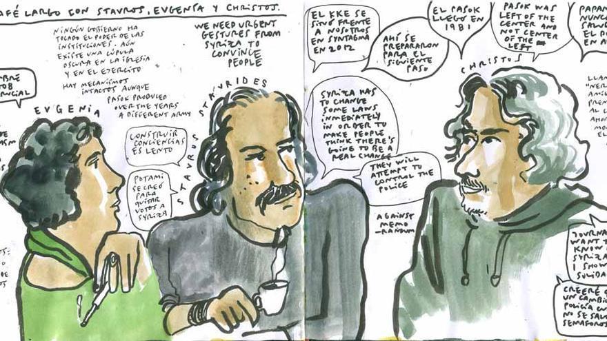 Conversación colectiva en Atenas, Enrique Flores (4ojos.com/blog)