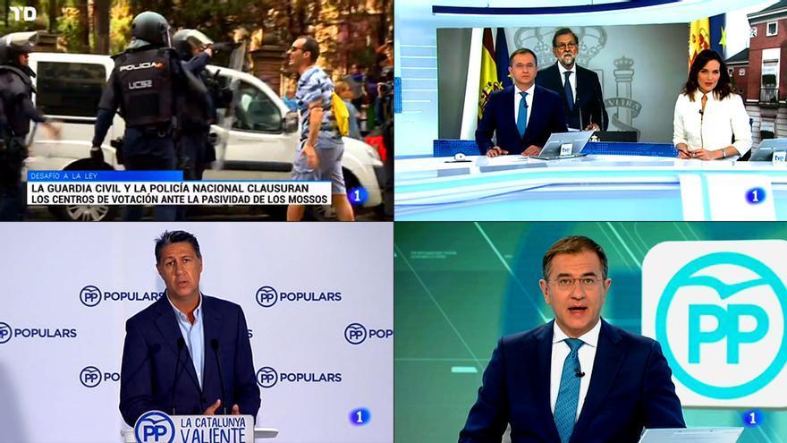 Imágenes del Telediario-2 de La 1 de TVE el pasado 1 de octubre