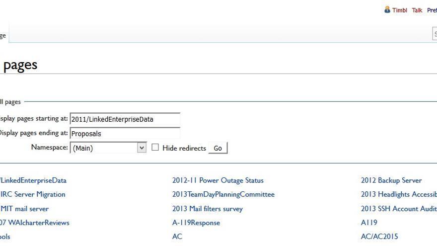 Captura de pantalla de la web: el usuario registrado es 'timbl'