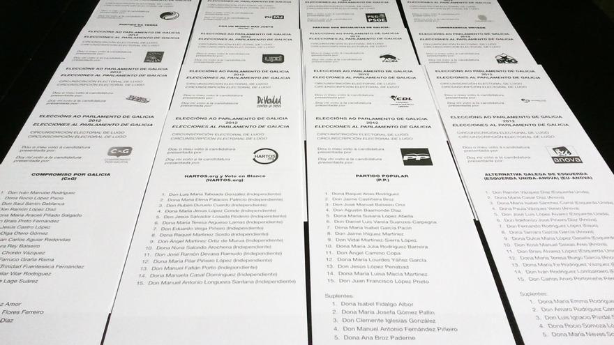 Papeletas de varias fuerzas políticas para las últimas elecciones gallegas
