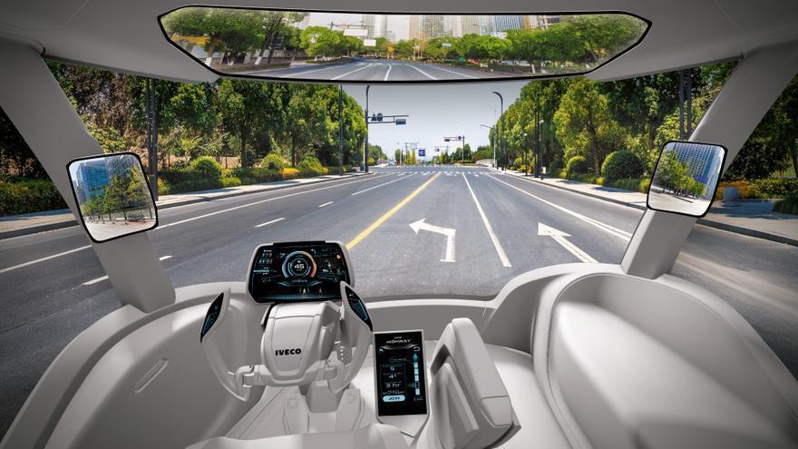 El futurista interior del Iveco Z Truck.