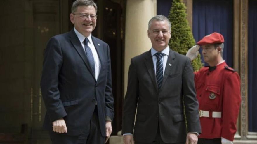 El president Ximo Puig junto al lehendakari Iñigo Urkullu durante la visita del jefe del Consell al País Vasco