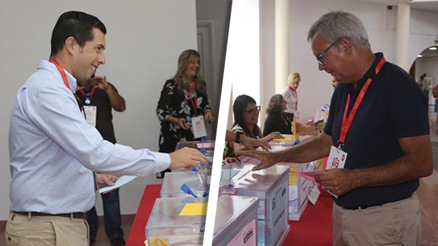 Alejandro Ramos y Sebastián Franquis, durante la celebración del Congreso regional del PSOE.