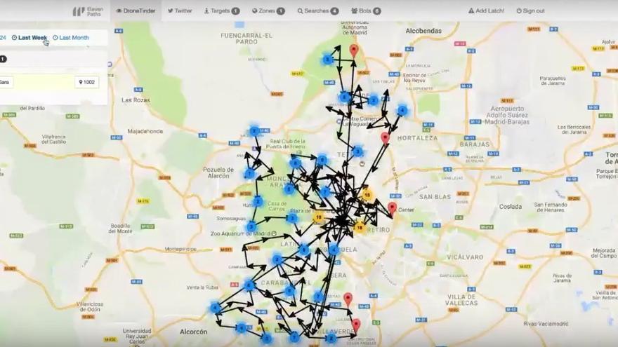 Callejero de Madrid con el seguimiento de una persona a través de Tinder (Imagen: YouTube)