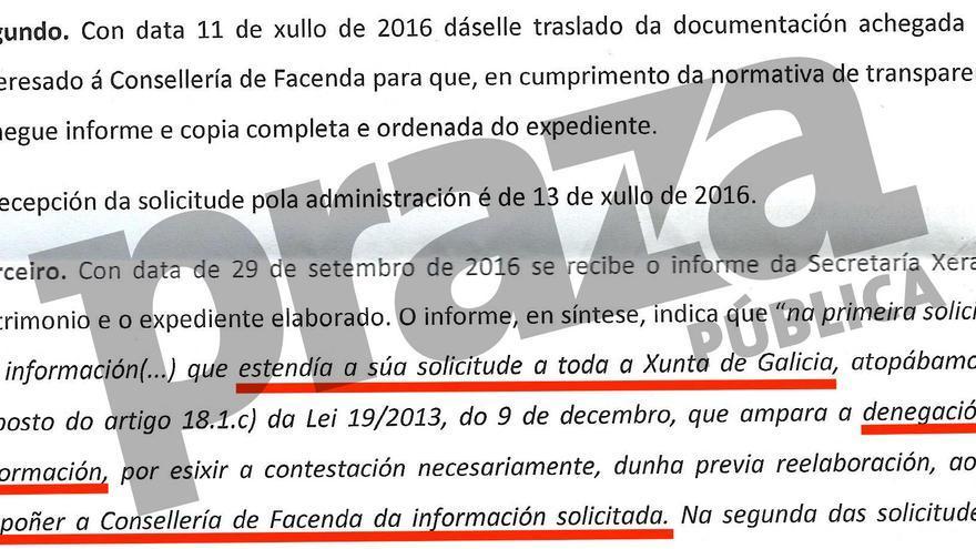 Respuesta de la Consellería de Facenda al Valedor do Pobo diciendo que no dispone de información sobre si la Xunta tiene tarjetas bancarias