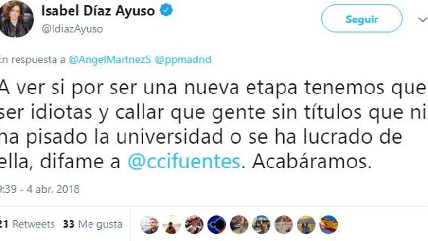 Tuit de Díaz Ayuso sobre el máster de Cifuentes