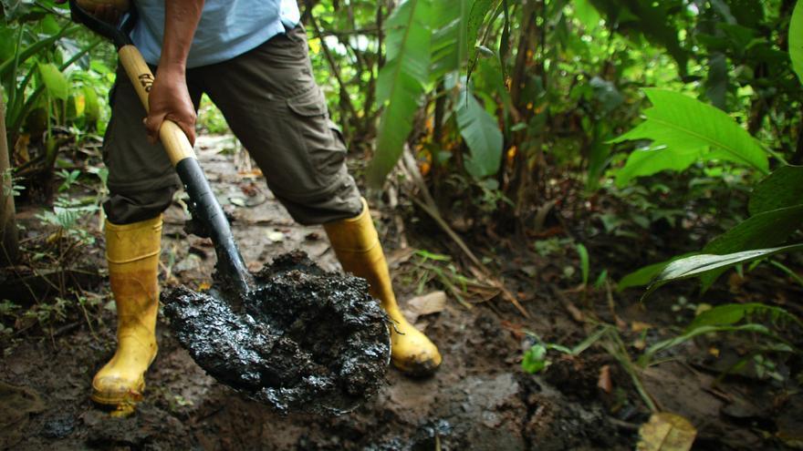 Ermel Chávez muestra el crudo filtrado en la tierra en el campo Sacha (Ecuador). / Miriam Gartor.