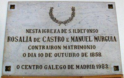 Placa conmemorativa a Rosalía de Castro, en San Ildefonso