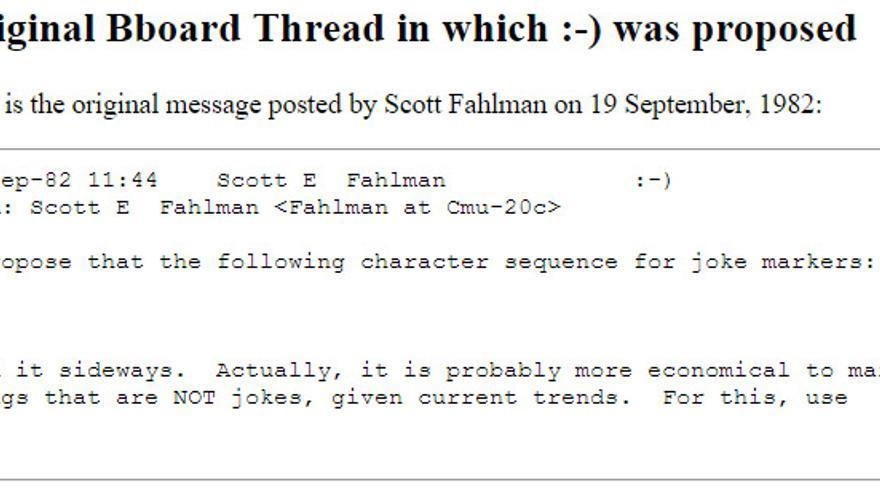 """Mensaje original en el que Fahlman propuso, el 19 de septiembre de 1982, utilizar """":-)"""""""