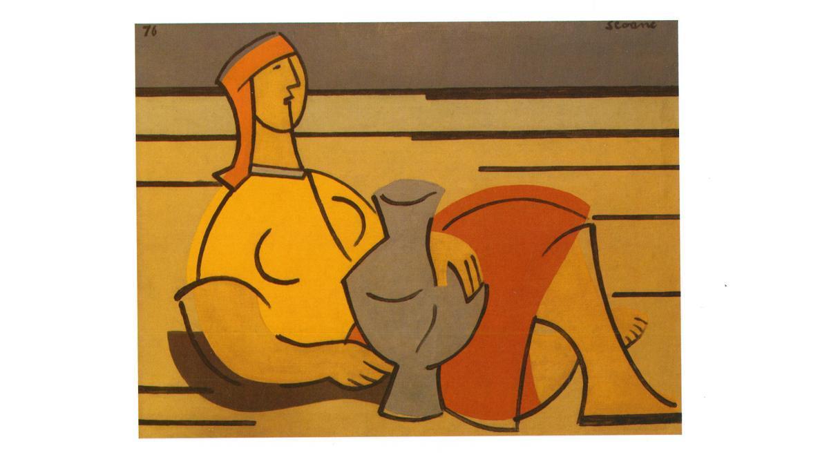 'Muller con cántaro', obra atribuida a Luís Seoane y cuya autoría pone en duda un informe con sello de la fundación del pintor