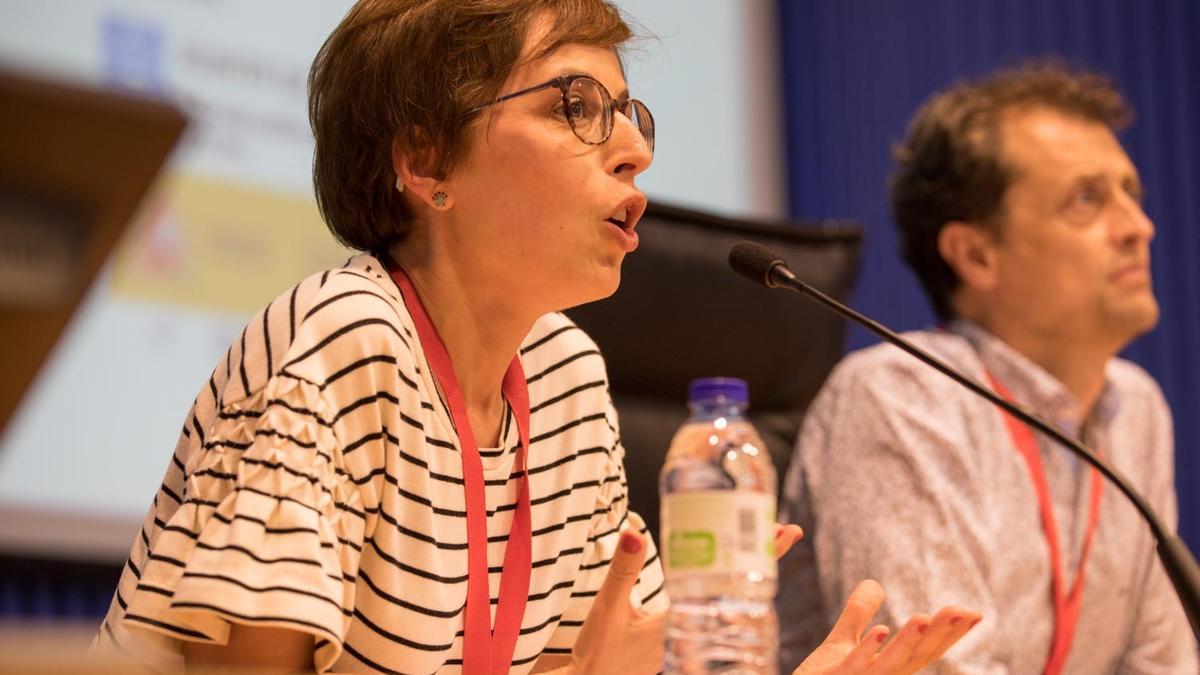 La presidenta de la Rede Galega contra a Pobreza, Eloína Injerto, en un congreso celebrado en 2019