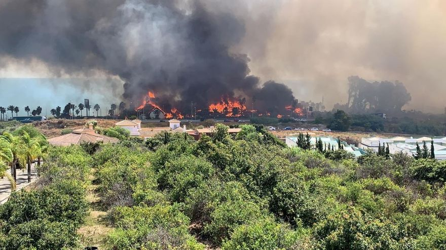 Fuego declarado en Estepona (Málaga)
