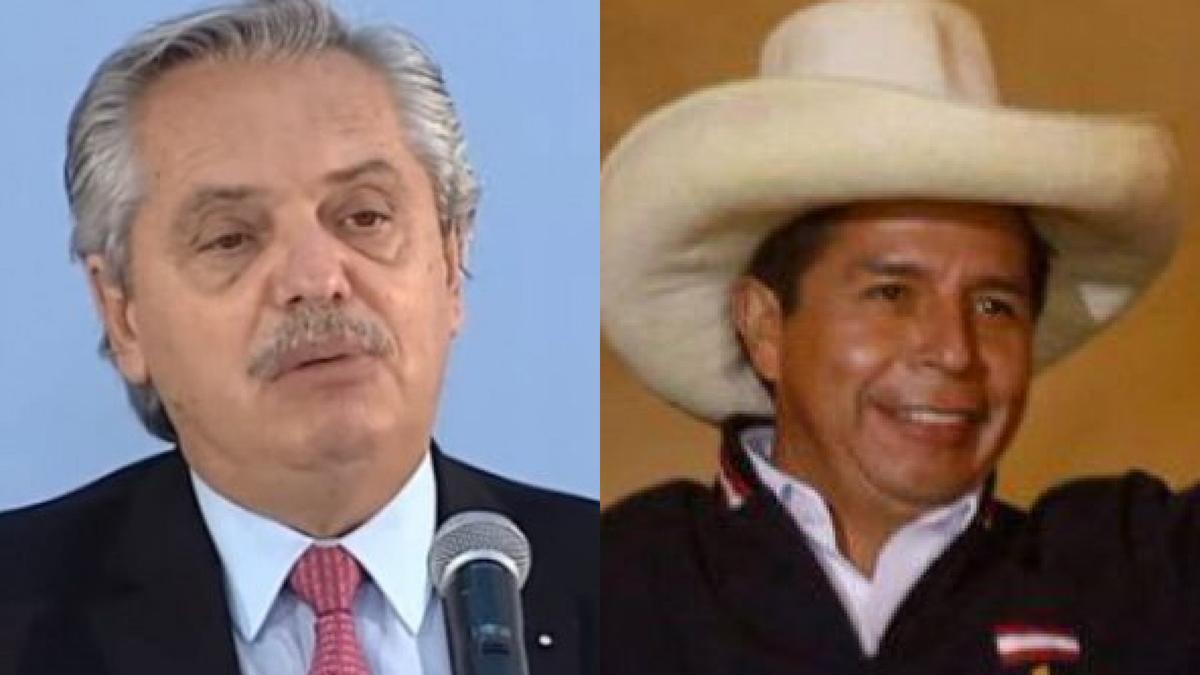 El presidente Alberto Fernández felicitó al candidato Pedro Castillo.