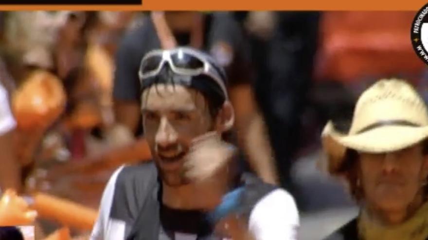 Luis Alberto Hernando, este sábado, en la meta. Imagen captada de la retransmisión streaming de Transvulcania.
