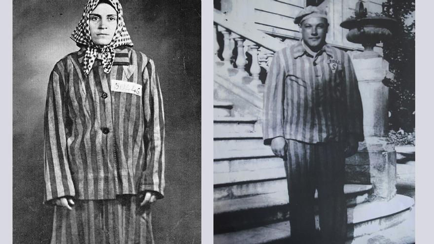 Neus Català y Esteban Pérez con sus uniformes rayados de Ravensbrück y Mauthausen