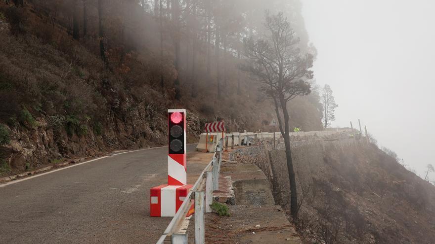 Carretera en obras de Valleseco a Artenara.